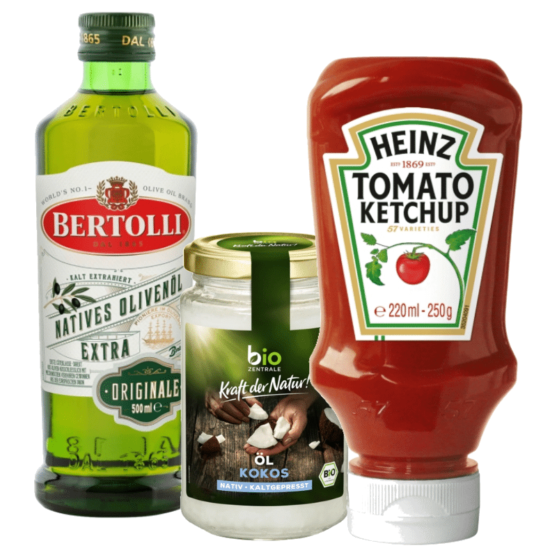 Öl, Dressings, Ketchup & Mayo